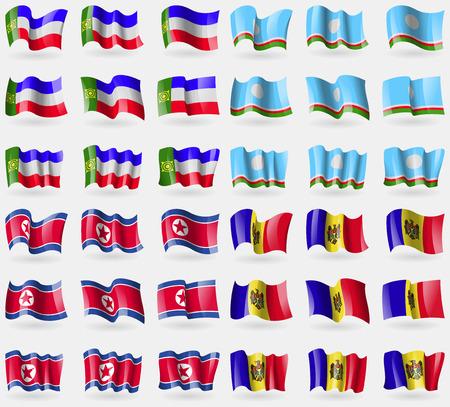 republic of korea: Khakassia, Sakha Republic, Korea North, Moldova. Set of 36 flags of the countries of the world. Vector illustration