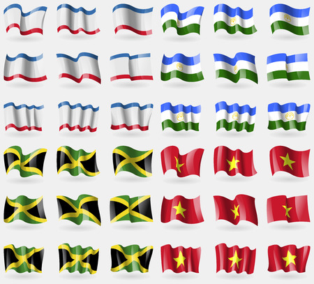 36: Crimea, Bashkortostan, Jamaica, Vietnam. Set of 36 flags of the countries of the world. Vector illustration