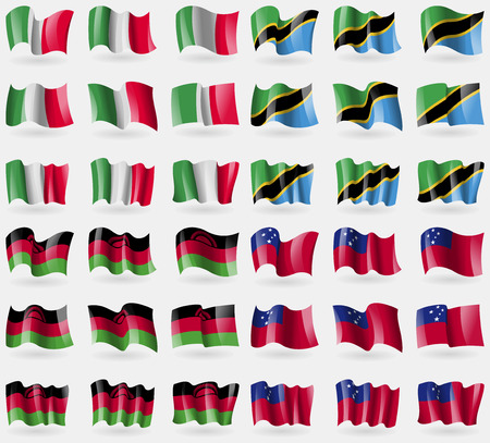 36: Italy, Tanzania, Malawi, Samoa. Set of 36 flags of the countries of the world. Vector illustration