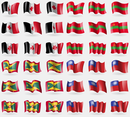 36: Udmurtia, Transnistria, Grenada, MyanmarBurma. Set of 36 flags of the countries of the world. Vector illustration Illustration