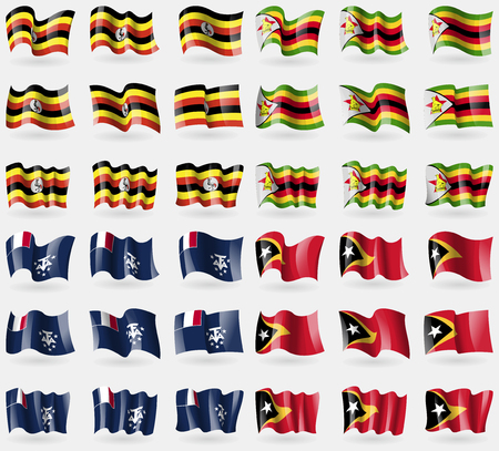 antarctic: Uganda, Zimbabwe, French and Antarctic, East Timor. Set of 36 flags of the countries of the world. Vector illustration