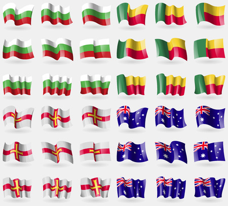 36: Bulgaria, Benin, Guernnsey, Australia. Set of 36 flags of the countries of the world. Vector illustration Illustration
