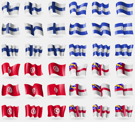 36: Finland, Honduras, Tunisia, Herm. Set of 36 flags of the countries of the world. Vector illustration Illustration