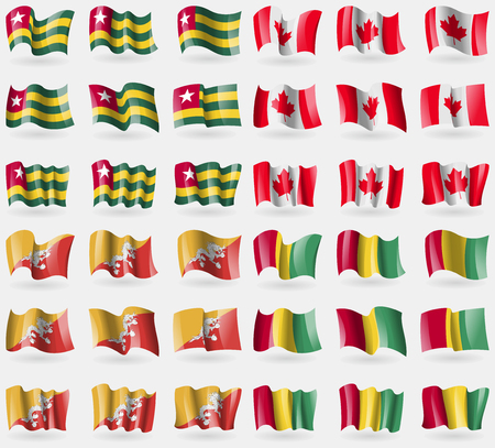 36: Togo, Canada, Bhutan, Guinea. Set of 36 flags of the countries of the world. Vector illustration