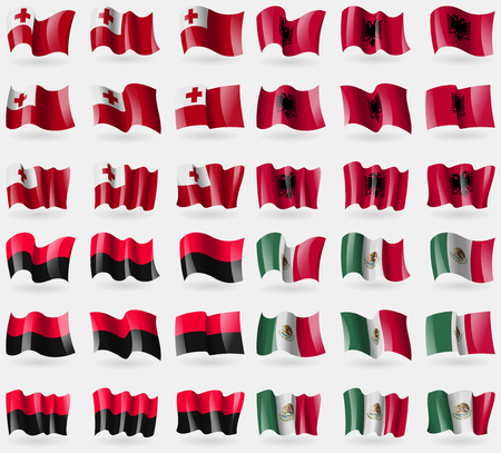 36: Tonga, Albania, UPA, Mexico. Set of 36 flags of the countries of the world. Vector illustration