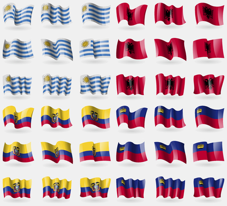 Uruguay, Albania, Ecuador, Liechtenstein. Set of 36 flags of the countries of the world. Vector illustration Иллюстрация