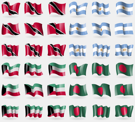 tobago: Trinidad and Tobago, Argentina, Kuwait, Bangladesh. Set of 36 flags of the countries of the world. Vector illustration Illustration