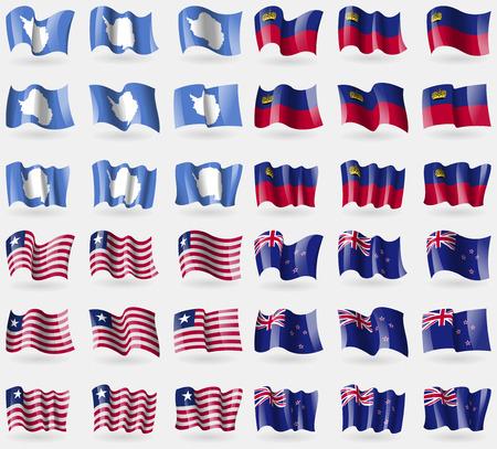 liechtenstein: Antarctica, Liechtenstein, Liberia, New Zeland. Set of 36 flags of the countries of the world. Vector illustration Illustration