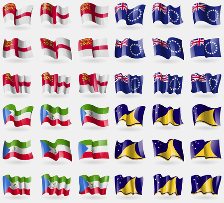 sark: Sark, Cook Islands, Equatorial Guinea, Tokelau. Set of 36 flags of the countries of the world. Vector illustration Illustration
