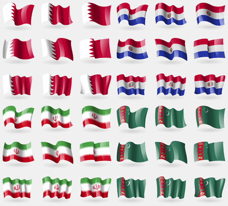 36: Bahrain, Paraguay, Iran, Turkmenistan. Set of 36 flags of the countries of the world. Vector illustration