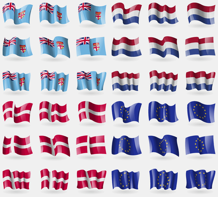 36: Fiji, Netherlands, Denmark, European Union. Set of 36 flags of the countries of the world. Vector illustration