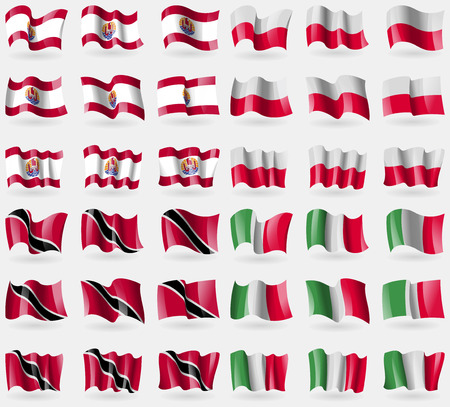 french culture: French Polynesia, Poland, Trinidad and Tobago, Italy. Set of 36 flags of the countries of the world. Vector illustration