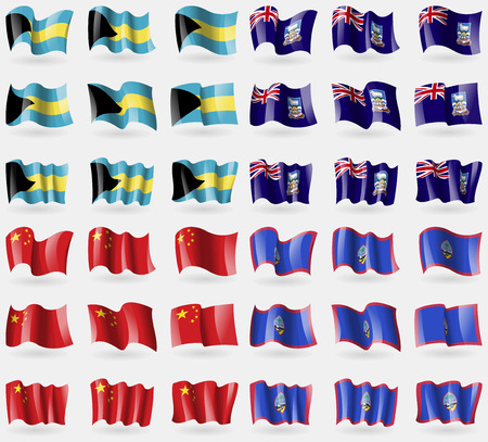 36: Bahamas, Falkland Islands, China, Guam. Set of 36 flags of the countries of the world. Vector illustration Illustration