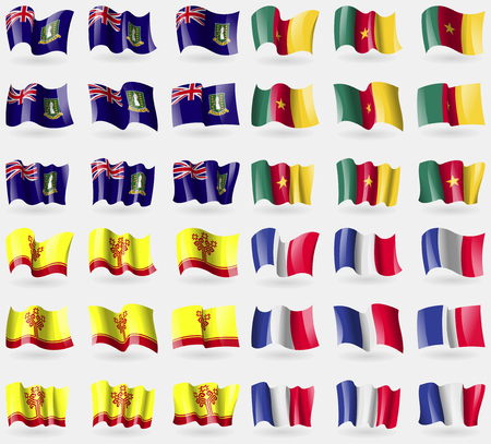 36: VirginIslandsUK, Cameroon, Chuvashia, France. Set of 36 flags of the countries of the world. Vector illustration