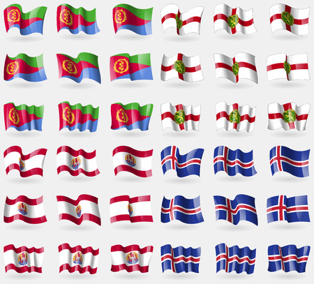 french culture: Eritrea, Alderney, French Polynesia, Iceland. Set of 36 flags of the countries of the world. Vector illustration