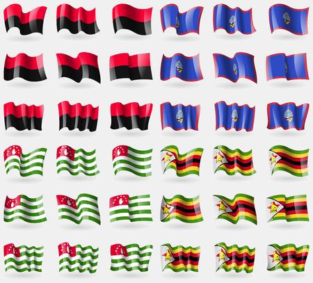 guam: UPA, Guam, Abkhazia, Zimbabwe. Set of 36 flags of the countries of the world. Vector illustration
