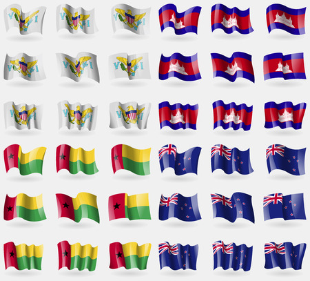 new zeland: VirginIslandsUS, Cambodia, GuineaBissau, New Zeland. Set of 36 flags of the countries of the world. Vector illustration Illustration