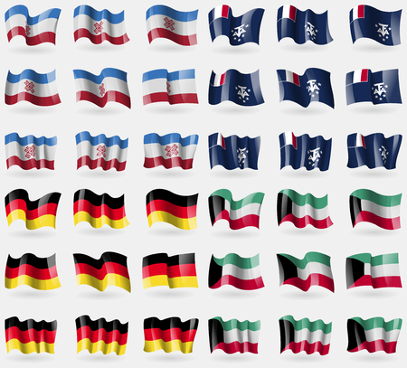 antarctic: Mari El, French and Antarctic, Germany, Kuwait. Set of 36 flags of the countries of the world. Vector illustration Illustration