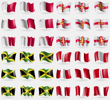flags of the world: Malta, Guernsey, Jamaica, Peru. Set of 36 flags of the countries of the world. Vector illustration