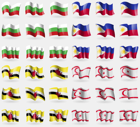 Bulgaria, Philippines, Brunei, Turkish Northern Cyprus. Set of 36 flags of the countries of the world. Vector illustration