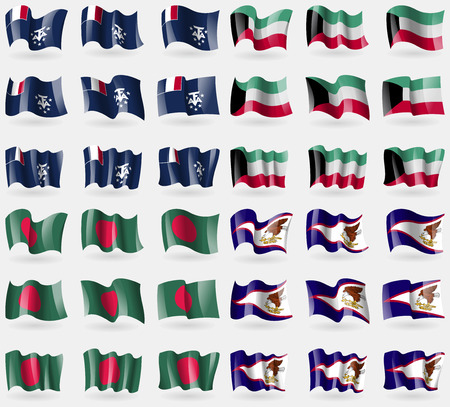 antarctic: French and Antarctic, Kuwait, Bangladesh, American Samoa. Set of 36 flags of the countries of the world. Vector illustration
