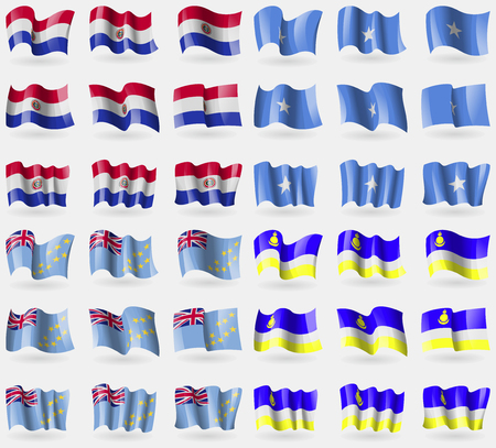 36: Paraguay, Somalia, Tuvalu, Butyatia. Set of 36 flags of the countries of the world. Vector illustration