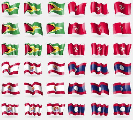 french culture: Guyana, Isle of man, French Polynesia, Laos. Set of 36 flags of the countries of the world. Vector illustration