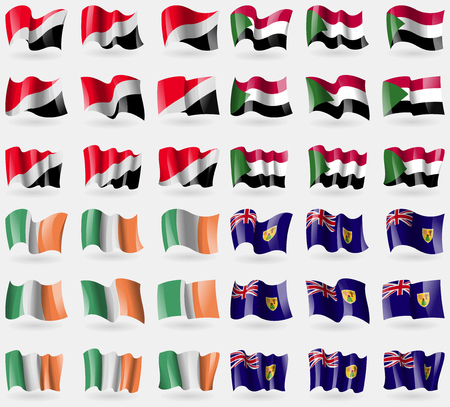 sealand: Sealand Principality, Sudan, Ireland, Turks and Caicos. Set of 36 flags of the countries of the world. Vector illustration Illustration