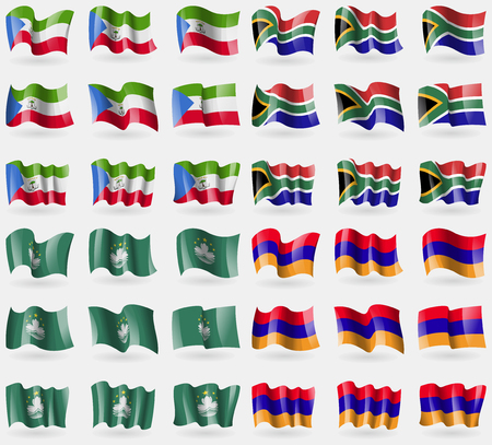 equatorial guinea: Equatorial Guinea, South Africa, Macau, Armenia. Set of 36 flags of the countries of the world. Vector illustration Illustration
