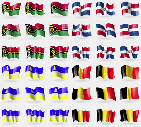 36: Vanuatu, Dominical Republic, Buryatia, Belgium. Set of 36 flags of the countries of the world. Vector illustration