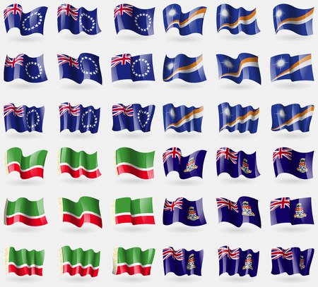 cayman islands: Cook Islands, Marshall Islands, Chechen Republic, Cayman Islands. Set of 36 flags of the countries of the world. Vector illustration Illustration