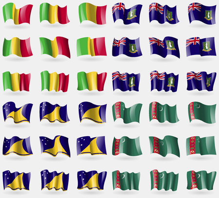 tokelau: Mali, VirginIslandsUK, Tokelau, Turkmenistan. Set of 36 flags of the countries of the world. Vector illustration