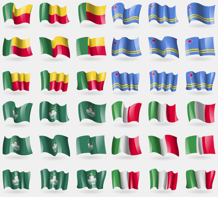 36: Benin, Aruba, Macau, Italy. Set of 36 flags of the countries of the world. Vector illustration Illustration