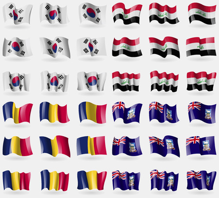 36: Korea South, Iraq, Chad, Falkland Islands. Set of 36 flags of the countries of the world. Vector illustration
