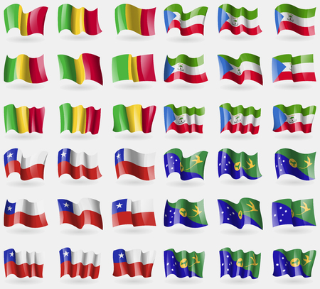 equatorial guinea: Mali, Equatorial Guinea, Chile, Christmas Island. Set of 36 flags of the countries of the world. Vector illustration