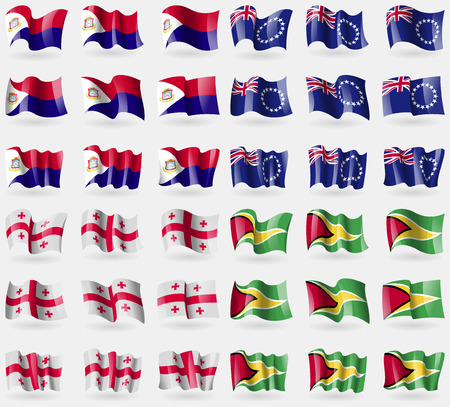 martin: Saint Martin, Cook Islands, Georgia, Guyana. Set of 36 flags of the countries of the world. Vector illustration