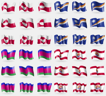 french culture: Greenland, Marshall Islands, Kuban Republic, French Polynesia. Set of 36 flags of the countries of the world. Vector illustration