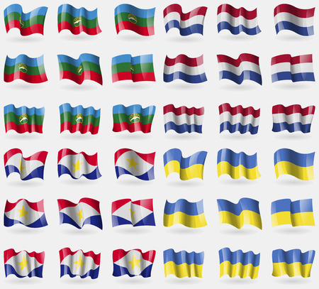 saba: KarachayCherkessia, Netherlands, Saba, Ukraine. Set of 36 flags of the countries of the world. Vector illustration
