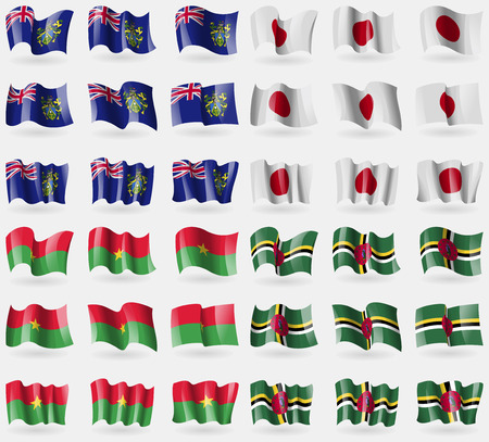 pitcairn: Pitcairn Islands, Japan, Burkia Faso, Dominica. Set of 36 flags of the countries of the world. Vector illustration