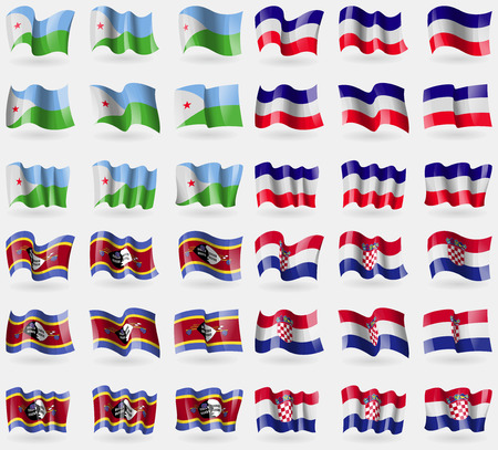 los: Djibouti, Los Altos, Swaziland, Croatia. Set of 36 flags of the countries of the world. Vector illustration
