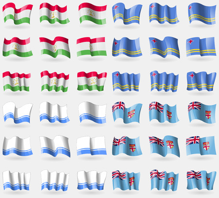 36: Tajikistan, Aruba, Altai Republic, Fiji. Set of 36 flags of the countries of the world. Vector illustration
