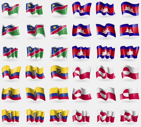 36: Namibia, Cambodia, Ecuador, Greenland. Set of 36 flags of the countries of the world. Vector illustration