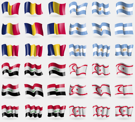 Chad, Argentina, Iraq, Turkish Northern Cyprus. Set of 36 flags of the countries of the world. Vector illustration