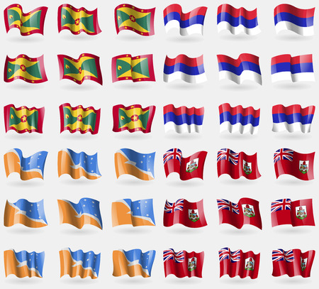 republika: Grenada, Republika Srpska, Tierra del Fuego Province, Bermuda. Set of 36 flags of the countries of the world. Vector illustration