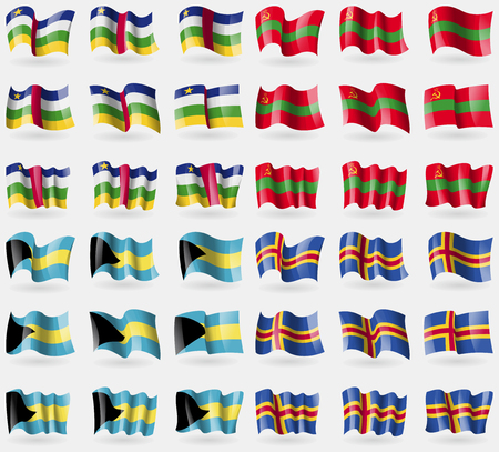 36: Central African Republic, Transnistria, Bahamas, Aland. Set of 36 flags of the countries of the world. Vector illustration