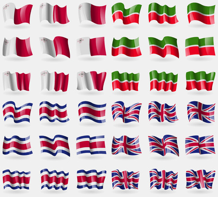 36: Malta, Tatarstan, Costa Rica, United Kingdom. Set of 36 flags of the countries of the world. Vector illustration