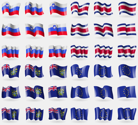 36: Slovenia, Costa Rica, Pitcairn Islands, European Union. Set of 36 flags of the countries of the world. Vector illustration Illustration