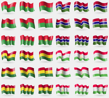 36: Burkia Faso, Gambia, Bolivia, Tajikistan. Set of 36 flags of the countries of the world. Vector illustration