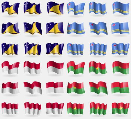 indonesia culture: Tokelau, Aruba, Indonesia, Burkia Faso. Set of 36 flags of the countries of the world. Vector illustration