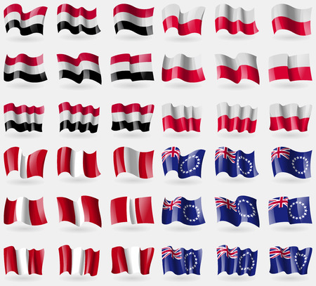 36: Yemen, Poland, Peru, Cook Islands. Set of 36 flags of the countries of the world. Vector illustration Illustration